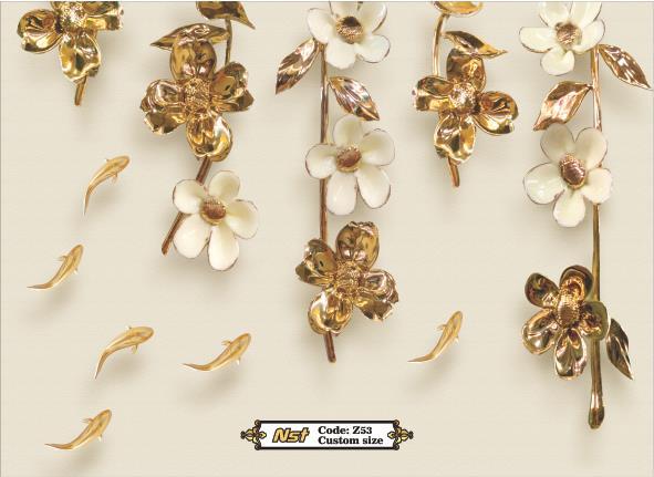 کاغذ دیواری سه بعدی طرح گل طلایی