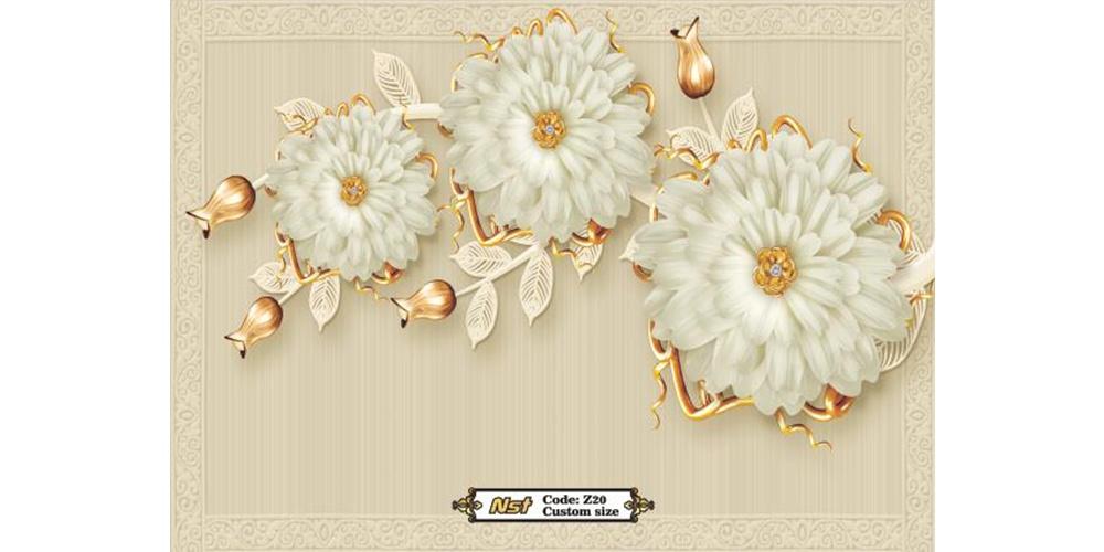 کاغذ دیواری جدید سه بعدی طرح گل