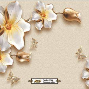 پوستر دیواری طرح گل طلایی و سفید