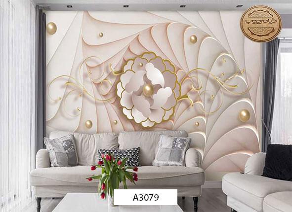 پوستر دیواری طرح گل سه بعدی